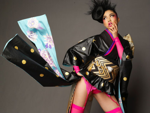 "Miss Japan 2009 Emiri Miyasaka's ""National Costume"" that sparked controversy across the internet. They later increased the hemline of the costume. Source: here"