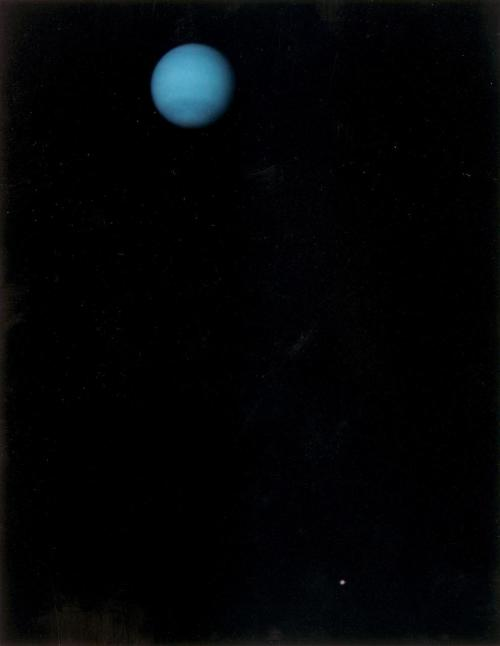 astronaught:  This image was returned by the Voyager 2 spacecraft on July 3, 1989, when it was 76 million kilometers (47 million miles) from Neptune. The planet and its largest satellite, Triton, are captured in the field of view of Voyager's narrow-angle camera. (via)