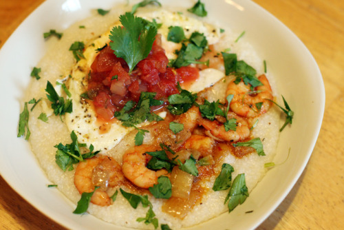 Breakfast: Shrimp, Grits, and a Fried Egg  kelli & tore are on a RAMPAGE  their breakfast makes mine look like a DICKHEAD  SHIT GODDAMN