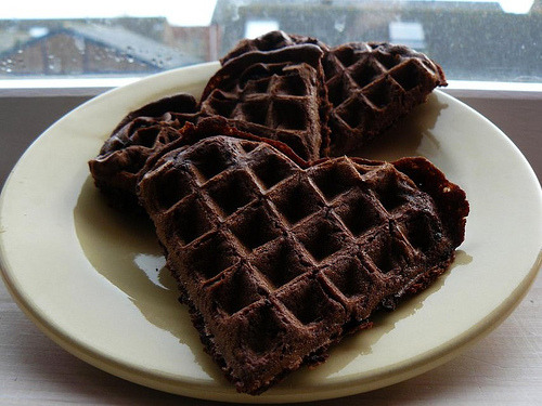 Chocolate brownie waffles (: