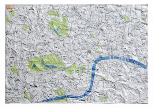 Crumpled City Maps are soft, yet hard-wearing, waterproof and meant to be creased and crumpled. Perfect for cyclists, I'd like to see the newest London Cycle Route maps printed on these - I'd pay for a copy!