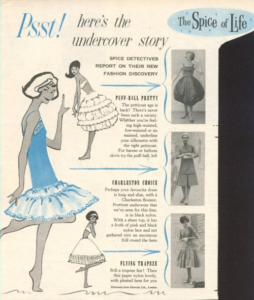 A clipping from a 1950s magazine showing petticoat designs.
