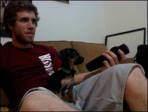 This is Corey and his doggie watching some T.V