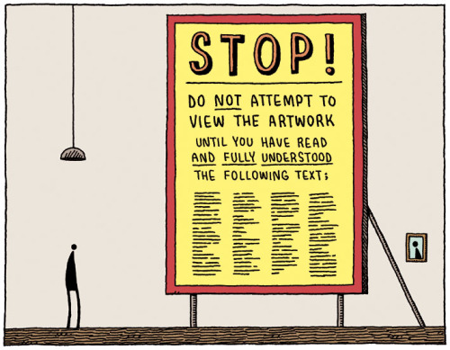 dylanmeconis:  Tom Gauld again, aptly demonstrating (for Museums Journal) why I do narrative illustration instead of conceptual art.  Need I add anything more?