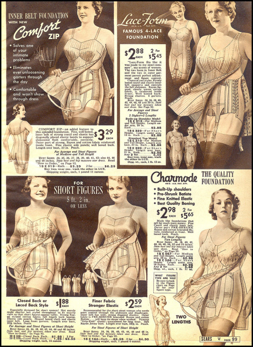 A scan from a magazine in 1937 showing some figure-controlling undergarment of that time. It is quite hard not to wonder how much time they would spend to get into one of them. (via wistfulrepublic)
