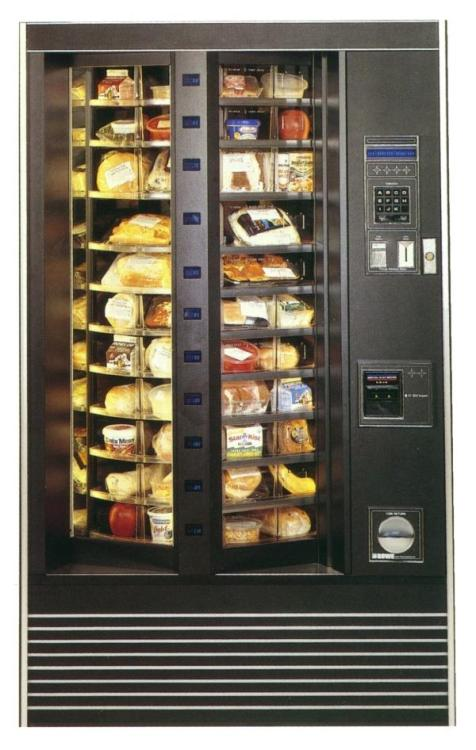 Rotating Vending Machines With Sandwiches In Them