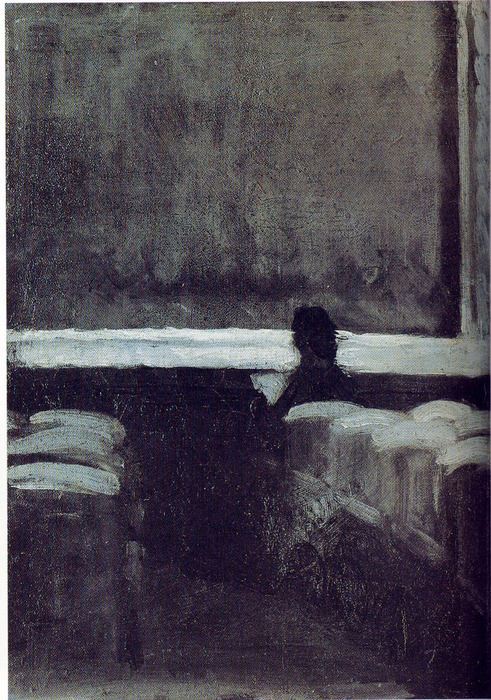 stopremembering: Edward Hopper, Solitary Figure in a Theater, 1902-1904 (via loverofbeauty)