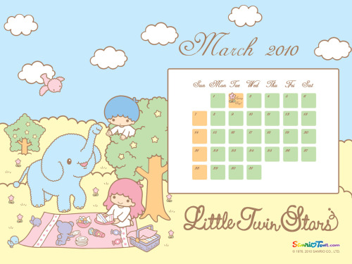 Little Twin Stars March 2010 Calendar