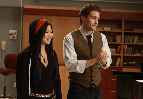 damien:  Will Schuester and Tina Cohen-Chang  I haven't had a chick in a hoodie in a while!