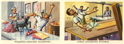 A pair of illustrations scanned from another Mexican lesson sheet, this one focusing on work-related injuries. Printed in Mexico in 1969. More here and here.