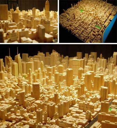 tayloransley:  WebUrbanist: Itty Bitty Cities Many cool images of scale city models, with neat stories.  A full scale reproduction of the San Francisco Bay seems like the most useful example here, but many of the others are incredibly rich in detail and effort.  Like the model of Manhattan pictured above:  It was built over the course of about 2,000 working hours by software engineer Michael Chesko. He wasn't building the model in a professional capacity; he was simply having fun. He hand-carved each tiny piece from balsa wood using nothing more than an X-Acto knife, a nail file, and a Dremel. The impressive 1:3200 model now rests in New York's Skyscraper Museum after being hand-delivered by Chesko and his wife; amazingly, neither had ever set foot in the city before that day.