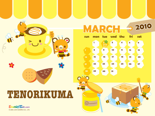TENORIKUMA MARCH 2010 CALENDAR