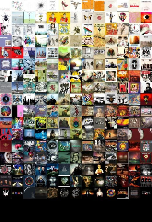 All the album artwork on my iPod, arranged in a nice little mosaic. How quaint…