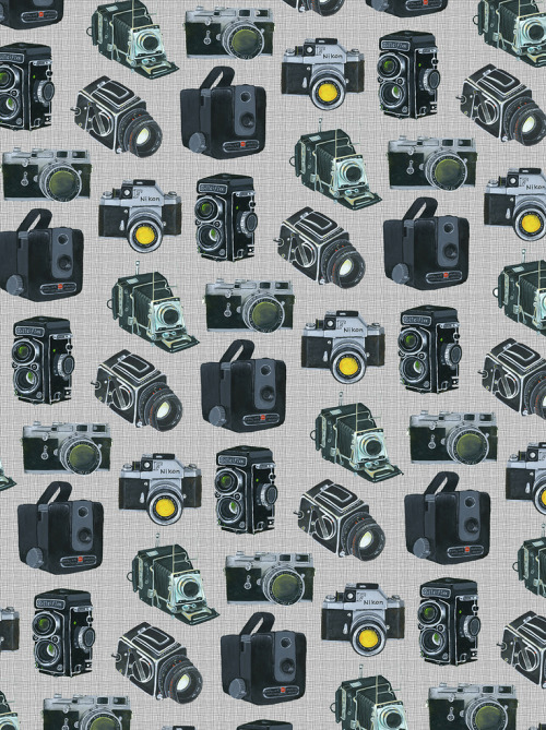 jamaicamakes:  Camera repeat pattern (via Bird in the Hand)  included in issue 5 of UPPERCASE magazine in an interview with artist rep Lilla Rogers (out in April)