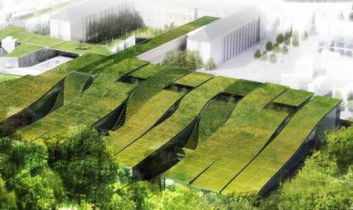 Extension to French high school merges with neighboring park | inhabitat  via verticalflux