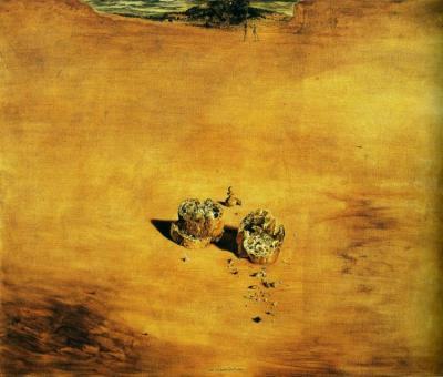 "Salvador Dalí, Two Pieces of Bread Expressing the Sentiment of Love, 1940 ""This beautiful still life, depicting three slices of bread, a few crumbs, and a chess pawn, is a remarkable example of the way in which Dali succeeds in adding an epic dimension to the most ordinary of everyday things. This picture was painted in Arcachon in the spring of 1940. Dali has said about the ""intervention, from an anecdotal point of view,"" of Marcel Duchamp in this oil: ""Gala and I used to play chess every afternoon, at the same time that I was in the process of painting the slices of bread. I was trying to make the surface on which the rough crumbs of bread were placed very smooth. Often there were things scattered about on the floor for instance, the pawns. One day, instead of putting them all back in the box, one of them remained placed in the middle of the model of my still life. Afterwards we had to find another chess set in order to continue our games, because I was using this one and would not allow anyone to remove it."""