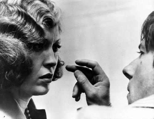 "Faye Dunaway tries to kill director/Fugitive to the Stars Roman Polanski with her mind on the set of Chinatown (1974) Polanski vs. Dunaway, Or: It's All Fun & Games Until Someone Gets a Face Full of Urine ""The actors were used to the American warm bath school of directing, which is to say, a collaborative approach. That was not Polanski's way. 'Roman is Napoleon with actors, 'They do what I tell them to do,"" says [Paramount production head Robert] Evans. 'He'd say, 'In Poland, I could just go make my fucking movies.' He was dictatorial & controlling. He gave Jack Nicholson so many line readings that Anthea Sylbert, the costume designer, half expected Nicholson to begin speaking with a Polish accent. But Nicholson & Polanski were good friends and Nicholson was more often than not amused by Polanski's eccentricities. Dunaway, on the contrary, was decidedly not. Dunaway was puzzled about her character's motivation, and by all accounts, got little guidance from Polanski. He would shout, 'Say the fucking words. Your salary is your motivation.' Things came to a head two weeks into shooting. According to Polanski, 'There was one hair that would stick out from her hairdo and catch the light and I was trying to get rid of it, trying to flatten it and it would not stay.' Polanski walked around behind her and plucked the hair. Dunaway screamed, 'That motherfucker plucked my hair!' and stormed off the set. Polanski did the same. Evans arranged a truce between the director and his leading lady, but it didn't last long. 'There was a scene where she gets in the car after seeing her daughter, and Jack is in the car waiting for her and scares the shit out of her,' recalls John Alonzo, the DP. 'She kept saying to Roman, 'Roman, I have to pee. I have to pee.' 'No. No. You stay there. You stay there. We shoot, we shoot.' And then he said, 'Roll the window down. I got to talk to you. You're turning too far right. Don't look at Jack, look ahead.' Then she threw a coffee-cup full of liquid in Roman's face. He said, 'You cunt, that's piss!' And she said, 'Yes, you little putz,' and rolled the window up. We were all speculating that maybe Jack peed in the cup for her. [Or maybe] she had a small bladder or something."" -excerpted from Peter Biskind's Easy Riders, Raging Bulls"