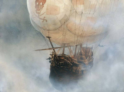 vintagecottagefrench:  monokatze:  I adore flying pirate ships, sailing through mist. vintagecottagefrench: Well, now I do too. This is wickedly cool. Maybe because pirates are wicked yet cool. And because the ship that should be in the sea is in the sky, and I love things that are Not In Their Intended Place.