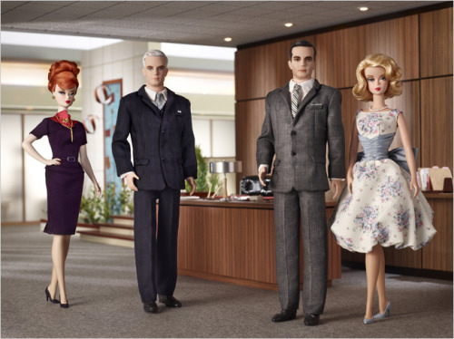 "Mattel plans to bring out versions of Barbie and Ken styled after four ""Mad Men"" characters (sans cigarettes and liquor).  Two things: Where's Peggy? And, Joan is kinda lacking, isn't she? The Joan body is the same as the Betty body. (via New York Times)"