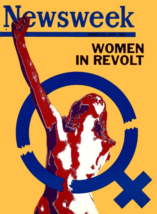 This was the cover of Newsweek on March 16, 1970—the same day 46 female staffers sued the company for gender discrimination. Funny that the woman is a) naked and b) breaking out of the female gender symbol, but still great. The 1970 issue—and what came after it—is the inspiration for this blog.