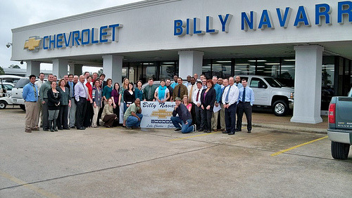 Billy Navarre Chevrolet (via waynesutton12) Thanks to everyone at Billy Navarre Chevy in Lake Charles, LA especially Jerry, The Magician, and the sales guys. Fan them on Facebook! Image challenge crowd-sourced! Take a team photo with the entire staff of a Chevy dealership.