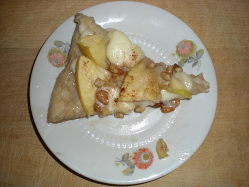 Recipe 1: Apple Pizza! This is the first time I ever made this and I have to say, I am surprised it came out so well. I have been dreaming of apple pizza for months now and I finally made it after much deliberation on the ingredients. The reason why I am so happy with this first try is that it's the perfect balance of dinner and dessert. It's cheesy and doughy and also there's honey (that's the secret!). Word to the wise: Honey makes everything better. Bon nuit!