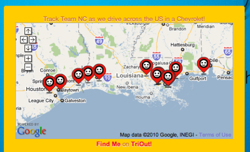 See our Team location along the road trip route with the TriOut Google Map check-in  widget. We have embedded our last location in the side bar and a 25 check-in history map in the page footer. See you on the open road, SXSWers. Also see our static map of road trip routes on the map page.