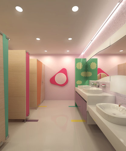 I designed a concept for the girl's bathroom of an international preschool project. Unfortunately, the building owner decided he won't let us renovate the existing bathrooms. :( -Christina Juan 2009