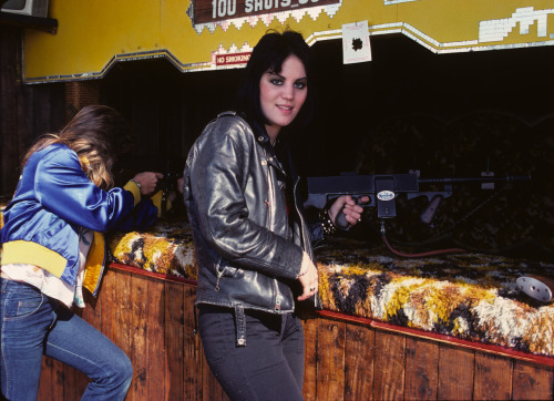 Look how cute Joan Jett looks back here in my photo from 1977 taken on the Santa Monica pier. That is Sandy West next to her. Joan was always a great shot! Photo by Brad Elterman