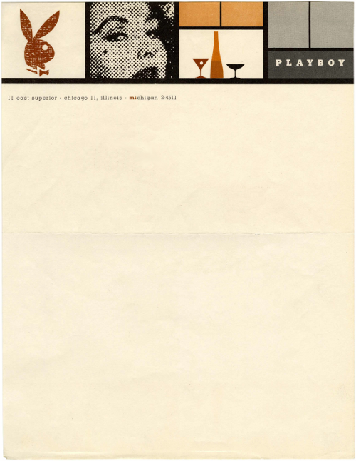 The stylish letterhead used by Hugh Hefner in 1955, just two years after the first issue of Playboy was released. Playboy, 1955 | Source