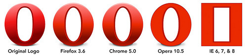 strake:  Opera logo with CSS - at first I thought this was just another IE slam (which would be funny in itself), but these are actual browser renderings using border-radius and CSS gradients.  (via willjardine)
