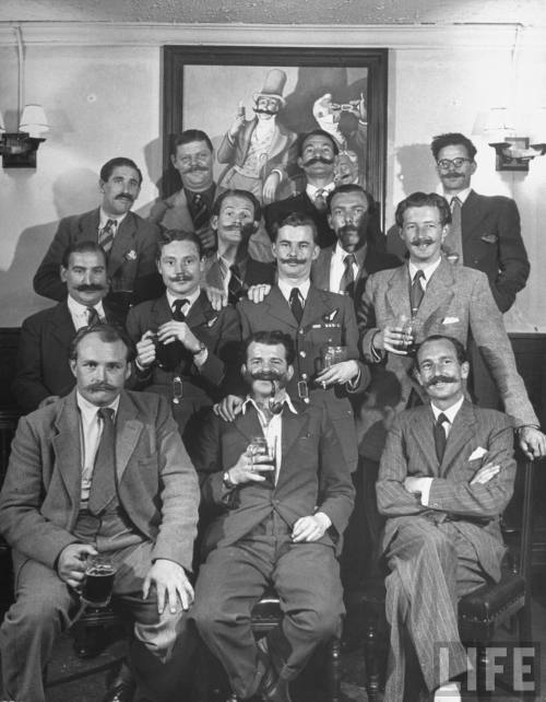 putthison:  The Handlebar Club enjoys a drink.  1947. The world needs more of this, and less of that other stuff. via Black Watch