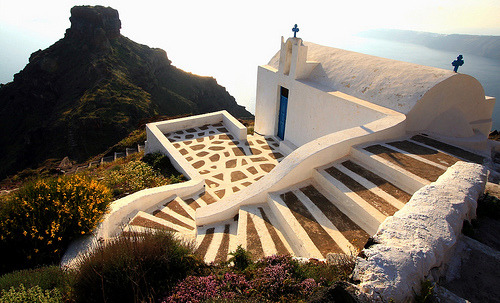Church and Skaros Rock, Santorini (via Marite2007)