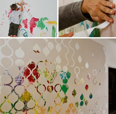 Let 'er Rip: Cool New Home Wallpaper for DIY Room Decor | Designs & Ideas on Dornob Interesting concept. I like the combination of the patterns and the child's painting underneath.