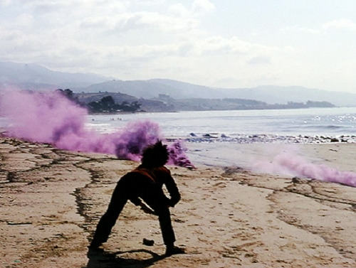 "judy chicago ""atmospheres,""  performance pieces involving smoke and various pyrotechnical materials, various locations in california, 1967.    				 				 					 						  i am waiting for my copy of Through the Flower, in which chicago talks about how she stopped doing these when the guy she bought the fireworks from sexually harassed her, though was too embarrassed to tell people that was why. then she met a female pyrotechnician and started doing them again. THEN she read valerie solanas and became a super-important feminist artist. i love these dreamy pre-radicalized works, though."