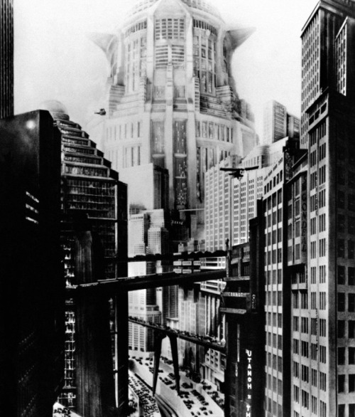 "Metropolis (1927, dir. Fritz Lang) ""This film marks the beginning of an intensive interplay between cinema and architecture. In its most grandiose moments the two fuse to become cinematic architecture, an independent art form."" -Wolfgang Jacobsen,  Metropolis: A Cinematic Laboratory for Modern Architecture"