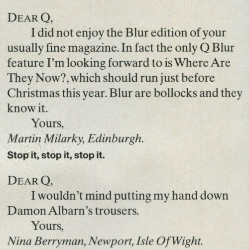 Letters to the editor, Q, 1996.    Foolish Martin…