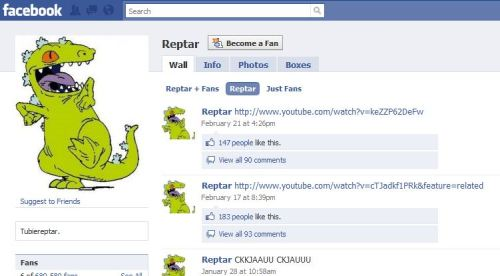 A fan page for Reptar, lulz