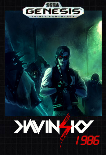 Kavinsky artwork by David Rapoza in the style of a 1980s Genesis cartridge.