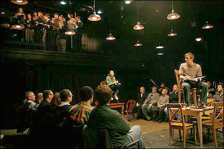 "adeandabet:  I saw the Barrow Street Theatre production of Thorton Wilder's Our Town this weekend. I don't even know what I could say that would do the show justice. If you're in NYC, just get tickets, you will not be sorry. We arrived and were ushered to our seats…on the floor, in the middle of the action. Everything about the show immerses you in the lives of the citizens of Grover's Corners. If you haven't seen or read Our Town before (as I had only read it), the show chronicles just a few days from a few different years in the lives of a couple families living in plain New Hampshire town. The script is simple and direct. Driven by a character named the ""Stage Manager,"" we follow normal people in their normal pursuits of living. From birth to marriage, and finally to death. The brilliance of the script, and the entire show, hinges on the Brechtian simplicity of production and the universally understandable emotional core of tenderness and aching. The deft staging of this production by director David Cromer (who's brilliantly directed production of When the Rain Stops Falling is currently playing at Lincoln Center's Mitsy Newhouse Theater - my review of that show here) engages the audience at every point. From the clever use of a few tables and chairs to create a whole town, to subtleties like leaving the house lights on during the performance, or the presence of a few bright green string beans being prepared during the show - all senses were engaged. And these are just the examples that I can give away without spoiling some of the surprises that Mr. Cromer saves in his sleeves for the end. The emotional center of the play is brought to life by the brilliant actors in plainclothes that portray the townspeople of Grover's Corners. Their simple pursuits are played with dignity and a genuine respect for the material and the audience. Go see this show! It's perfect for people like me with a short attention span, at just over 2 hrs with 2 ten minute intermissions, the play really clips by at a wonderful pace. Special Note: At our performance we saw Michael Moore, Andrea Martin, and Nellie McKay all in attendance. I give this production of Our Town 5 out of 5 stars - terrific.   What a review! I will definitely move this to the top of my ""must see"" list."