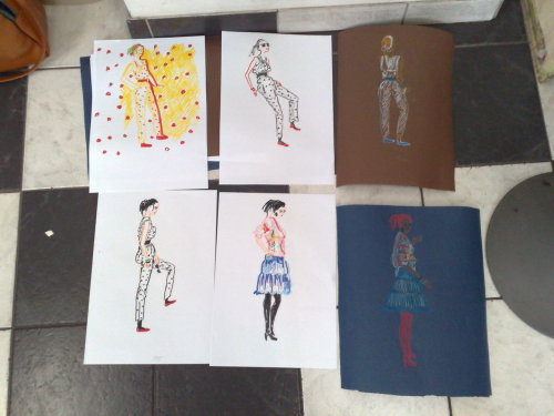 Some of the drawings that were made of me today at the art school. The spotty costume was not something I would wear every day, so it was quite fun.