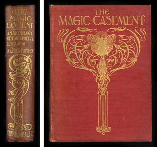 First edition of The Magic Casement: A Book of Faëry Poems Giving Glimpses of the World Beyond the Casement, selected and arranged with introduction and notes by Alfred Noyes. Illustrated by Stephen Reid and published by Chapman & Hall Ltd in 1908 (undated; date according to British Library catalogue). Printed by Ballantyne & Co. Limited, London. Hardback, red cloth boards with gilt lettering and decorations to front and spine, side and lower edges uncut, 4 full-page drawings (including frontispiece and title page), 26 smaller drawings, xx, 391 pages. Approximate size 7.9 x 5.7 inches (20 x 14.5 cm). This comprehensive, wide-ranging anthology of fairy poetry features a beautiful Art Nouveau binding plus 30 delicate line drawings by the Scottish painter and illustrator Stephen Reid (1873-1948). Reid was born in Aberdeen, where he studied at Gray's School of Art before going on to the Royal Scottish Academy Schools in Edinburgh. By 1899 he was in London, where he exhibited at the Royal Academy and the Royal Society of British Artists, of which he was a member. He painted historical and mythological subjects, as well as portraits and landscapes, and worked as an illustrator, contributing to magazines such as The Strand and to children's books including Cuchulain, the Hound of Ulster (1909) and Famous Voyages of the Great Discoverers (1910). The contents include some 80 poems, both well known and more obscure, grouped into eight sections: The Fairy Life, Witches' Cauldrons and Blasted Heaths, Come Unto these Yellow Sands, Flower-Fairies, Enchanted Woods, Airy Mountain and Rushy Glen, The Faery Voyager, and Last Echoes. Alfred Noyes provides an eight-page introduction, as well as the occasional footnote. Authors include: William Shakespeare, John Lyly, Percy Bysshe Shelley, Michael Drayton, George Darley, Rudyard Kipling, G.K. Chesterton, Tom Hood, R.C. Lehmann, Alfred Noyes, Sydney Dobell, Theodore Watts-Dunton, John Milton, Sir Walter Scott, John Todhunter, Thomas Middleton, Ben Jonson (The Witches' Sabbath), Robert Burns, Robert Browning, Alfred, Lord Tennyson (The Horns of Elfland and others), Fiona Macleod, Matthew Arnold, William Browne, Thomas Lovell Beddoes, Philip Bourke Marston, Algernon Charles Swinburne, John Keats, S.T. Coleridge, William Morris (Rapunzel), Christina Rossetti (Goblin Market and The Dead Princess), William Allingham, Sir Samuel Ferguson, W.B. Yeats (The Stolen Child), and Sir Theodore Martin.