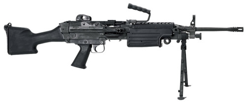 The M249 light machine gun (LMG), previously designated the M249  Squad Automatic Weapon (SAW), and formally written as Light  Machine Gun, 5.56 mm, M249, is an American version of the FN  Minimi, a light machine gun manufactured by the Belgian company FN Herstal (FN). The M249 is  manufactured in the United States and is widely used by the U.S. Armed Forces.  The gun was introduced in 1984 after being judged the most effective of  a number of candidate weapons to address the lack of automatic firepower in small units. The  gun provides infantry squads with the heavy volume  of fire of a machine gun combined with accuracy and  portability approaching that of a rifle. The M249 is gas-operated and air-cooled. It has a  quick-change barrel, allowing the gunner to rapidly replace an  overheated or jammed barrel. A folding bipod is  attached near the front of the gun, though an M192 LGM tripod is also available. It can be  fed from both linked ammunition and STANAG magazines, like those used in the M16 and M4.  This allows the SAW gunner to use rifleman's magazines as an  emergency source of ammunition in the event that he runs out of linked  rounds. However, this will often cause malfunctions because the magazine  spring has difficulty feeding rounds quickly enough to match the SAW's  high cyclic rate. M249s have seen action in every major conflict involving the United  States since the 1989 invasion of Panama.  Soldiers are generally satisfied with the weapon's performance, though  there have been reports of clogging with dirt and sand. Due to the  weight and age of the weapon, the U.S. Marine Corps (USMC) is  considering designs for an infantry automatic rifle, which is  planned to complement and partially replace the M249 in their service.