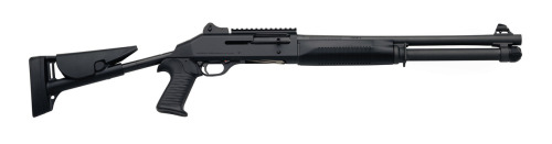 "The M4 Super 90 is an Italian semi-automatic shotgun manufactured  by Benelli Armi S.P.A. The M4 was the first gas-operated shotgun produced by Benelli. Its  function is designed around an entirely new method called the ""auto  regulating gas operated"" (ARGO) system. The ARGO system on the M4 opened  the door for Benelli's development of the R1 rifle line. The design  uses two stainless-steel self-cleaning pistons  located just ahead of the chamber to function opposite the rotating bolt, thereby eliminating the need for the complex  mechanisms found on other gas-actuated automatics. Benelli accomplishes  this level of reliability through the simplicity of the mechanism. The  ARGO is a short-stroke system that incorporates only four parts. It  consists of two symmetrical shrouds containing two small steel gas  pistons. It is also self-regulating for cartridges of varying length and power  levels. It can fire 2.75 and 3-inch (76 mm) shells of differing power-levels without any operator  adjustments and in any combination. Low-power rounds, such as  less-lethal rubber pellets, must be cycled manually. The sights are military-style ghost ring and are adjustable in the field using  only a cartridge rim. The  MIL-STD-1913 Picatinny sight rail on top allows use of both conventional  and night-vision sights, while retaining use of the original sights."