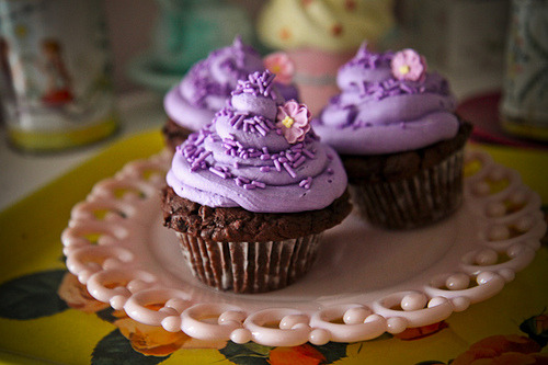 choc cupcakes with purple icing & flower!