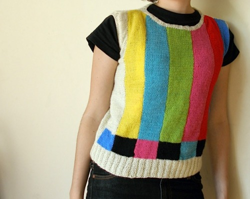 thedailywhat:  Sweetass Sweater of the Day: Marina Torreblanca's handmade test-pattern sweater is all kinds of chroma-calibrating kickassity. [craft.]  want. does it come in a hoodie?