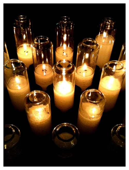 White prayer candles.