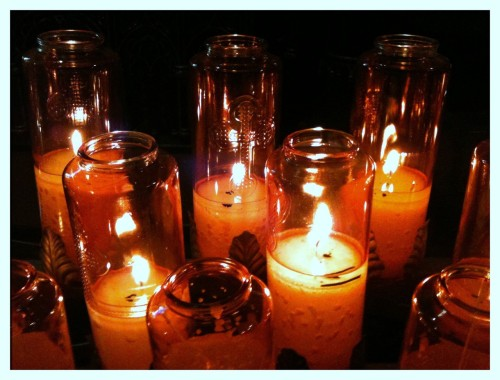 Orange prayer candles