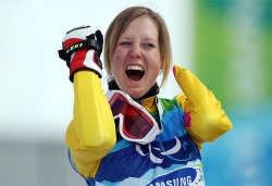 Andrea Rothfuss of Germany celebrates winning the silver medal in the Women's Slalom Standing event during day 4 of the Winter Paralympics at Whistler Creekside on March 15, 2010 in Vancouver, Canada. [by Hannah Johnston/Getty Images]