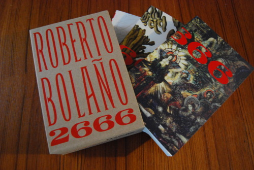 "dlbrows:  2666 - Roberto Bolaño Soooo I was in this tumblr book club where we read 2666 together. I was waiting and waiting for people to post their thoughts… apparently it happened a month ago. No idea how I missed that. Anyway, reviews from me months after I finished a book are borderline pointless. If I don't take notes, and I didn't, my memory of the story is all over the place. Even when it comes to some of my favourite reads. (you should hear me when I meet someone who enjoyed The Brothers Karamazov. I get all excited and try and talk to them about it and it goes a little something like this; Oh man wasn't that one brother, like, totally, like mean and stuff? But the other brother was super nice! The third was medium. I liked that they had trains in the story. I like trains.)  This book. Ugh. This book. Great and bad at the same time. It's split up into five parts that Bolaño had originally requested be five novels. I wish so much, and wished while reading, that they had done this instead of publishing it as one book. Then I could have read the first part by itself and just been amazed. The first part of this book, titled ""The Part About the Critics"", is terrific. Great story, surprisingly hilarious, and has insightful things to say about love, relationships and academic conferences.  The second part was kind of dull, but had a great side story about one of the characters hanging a book on Geometry in his backyard on a clothesline so the book could learn something about real life.  The third part was ok, has some intense scenes and had some boxing scenes soooo that's a positive. Also had one of the worst paragraphs I've ever read. No idea what it said anymore, all I know is I wrote (in pencil) in the library's copy of this book, ""weak"" with an arrow pointing to the paragraph.  The fourth part, oooooh the fourth part. Horrible. Bolaño basically takes you through 2000 deaths, some just as a mention but many he describes in great detail. Young women, young girls, being raped, stabbed and cut up. Over and over. Page after page. It was far too much.  I get it, Bolano wants these deaths to weigh on you while you read them over and over, as it would have weighed on the people of this city where all these killings were happening. But it crossed a line to me and became crude. And boring to be honest (how many times can you read about the same kind of death over and over? Or read about a character's back story knowing she would be raped and murdered once you turned the page).  Nevertheless I pushed through it. Pretty much because I told my tumblr homies I would.  Part five was much better and reminded me how much I liked the first part of this book. The character of Benno von Archimboldi, who connects a lot of the stories, is really well done. And it was fun to see some of the story lines finally come together. Overall, would I recommend this book to someone? No. I wouldn't go out of my way to discourage it though as I'd be interested in hearing what they thought. Would I read Roberto Bolaño again? I'm reading By Night In Chile right now, so yes. I loved part one of this book. Loved it. So I'm giving  Bolaño another try (well, with a book that is only 130 pages) and so far it has been really good."